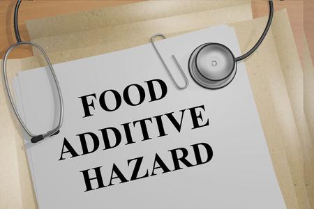 """Ilustración 3D del título de """"aditivo alimentario PELIGRO"""" en los documentos médicos. Concepto de la investigación médica. Foto de archivo"""