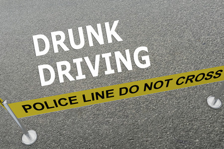 drunk driving: Render illustration of DRUNK DRIVING title on the ground in a police arena. Police concept