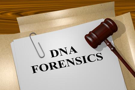 nucleotide: 3D illustration of DNA FORENSICS title on Legal Documents. Legal concept.