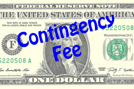 contingency: Render illustration of Contingency Fee title on One Dollar bill as a background. Business concept Stock Photo