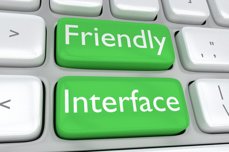 adjacent: 3D illustration of computer keyboard with the print Friendly Interface on two adjacent green buttons. Design concept.