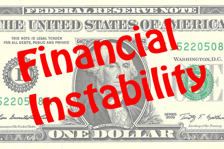 Render illustration of Financial Instability title on One Dollar bill as a background. Business concept