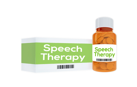 sympathetic: 3D illustration of Speech Therapy title on pill bottle, isolated on white. Therapeutical concept.