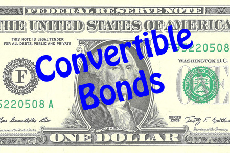 dollar bill: Render illustration of Convertible Bonds title on One Dollar bill as a background. Business concept Stock Photo