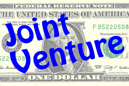 one dollar bill: Render illustration of Joint Venture title on One Dollar bill as a background. Business concept Stock Photo