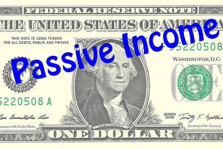 Render illustration of Passive Income title on One Dollar bill as a background. Business concept