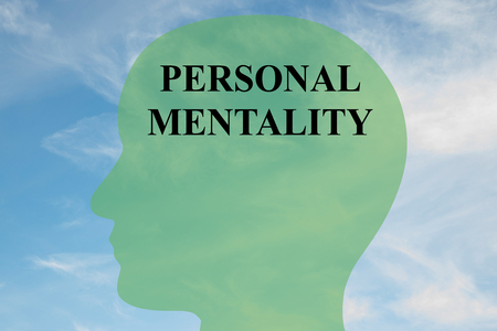 mentality: Render illustration of PERSONAL MENTALITY script on head silhouette, with cloudy sky as a background.