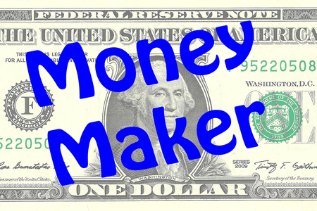 one dollar bill: Render illustration of Money Maker title on One Dollar bill as a background. Business concept