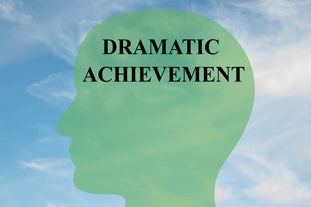 difficult lives: Render illustration of DRAMATIC ACHIEVEMENT script on head silhouette, with cloudy sky as a background. Human mental concept.