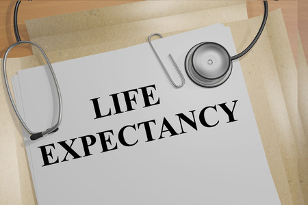 mortality: 3D illustration of LIFE EXPECTANCY title on medical documents. Medical concept.
