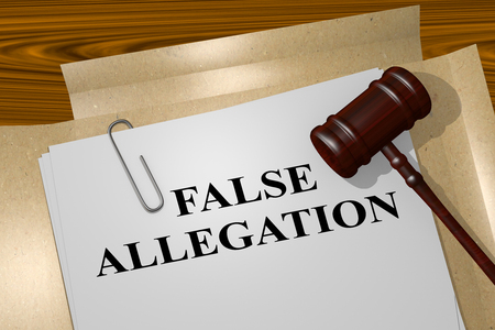 counterfeit: 3D illustration of FALSE ALLEGATION title on Legal Documents - concept