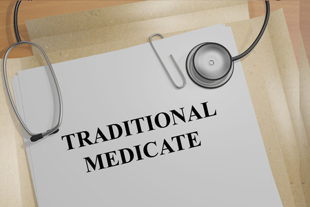 medicate: 3D illustration of TRADITIONAL MEDICATE title on medical documents. Ethical concept.