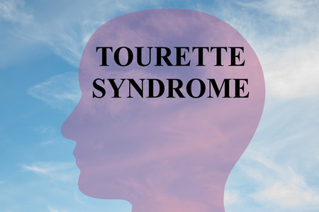 ability to speak: Render illustration of TOURETTE SYNDROME script on head silhouette, with cloudy sky as a background. Stock Photo