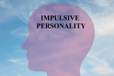 impulsive: Render illustration of IMPULSIVE PERSONALITY script on head silhouette, with cloudy sky as a background. Human mental concept.