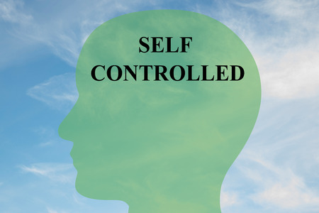 controlled: Render illustration of SELF CONTROLLED script on head silhouette, with cloudy sky as a background. Human brain concept.