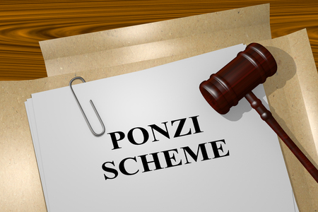 dishonest: 3D illustration of PONZI SCHEME title on Legal Documents. Legal concept. Stock Photo