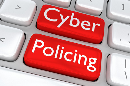 policing: 3D illustration of computer keyboard with the print Cyber Policing on two adjacent red buttons. Internet concept.