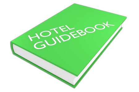 guidebook: 3D illustration of HOTEL GUIDEBOOK script on a book, isolated on white. Tourism concept.
