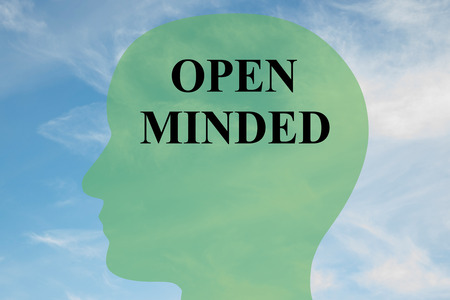 impartiality: Render illustration of OPEN MINDED script on head silhouette, with cloudy sky as a background. Human mental concept. Stock Photo