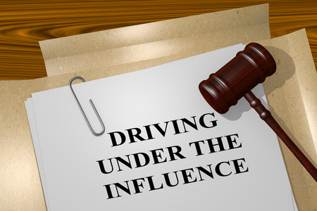 dui: 3D illustration of DRIVING UNDER THE INFLUENCE title on Legal Documents. Legal concept.