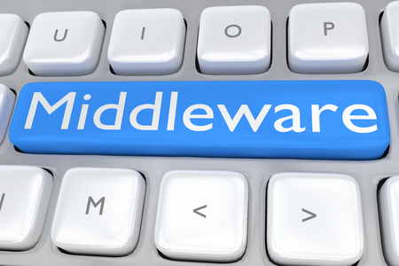 routing: 3D illustration of computer keyboard with the script Middleware on pale blue button. Technological concept. Stock Photo