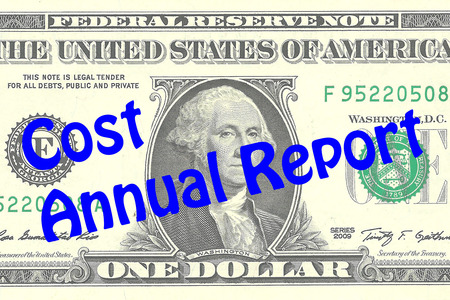 Render illustration of Cost Annual Report title on One Dollar bill as a background. Business concept Stock Photo