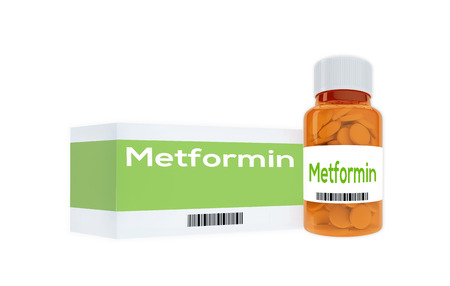 antidiabetic: 3D illustration of Metformin Medicine title on pill bottle, isolated on white. Human personality concept. Stock Photo