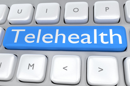 3D illustration of computer keyboard with the script Telehealth on pale blue button. Remote service concept.