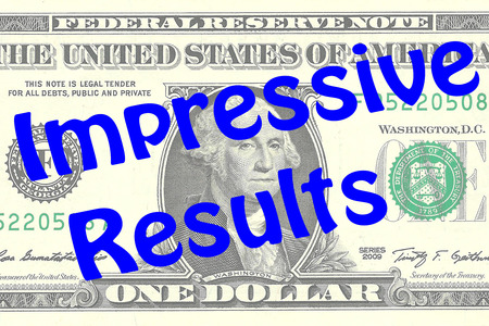 advertiser: Render illustration of Impressive Results title on One Dollar bill as a background. Business concept