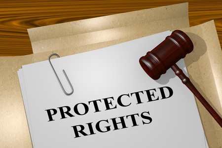 3D illustration of PROTECTED RIGHTS title on Legal Documents - concept