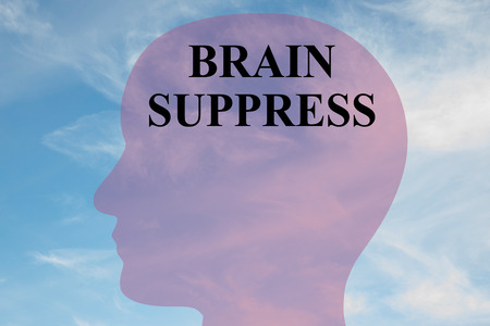 oppression: Render illustration of BRAIN SUPPRESS script on head silhouette, with cloudy sky as a background.