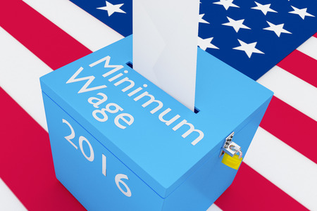 turnout: 3D illustration of Minimum Wage, 2016 scripts and on ballot box, with US flag as a background. Election issue concept.