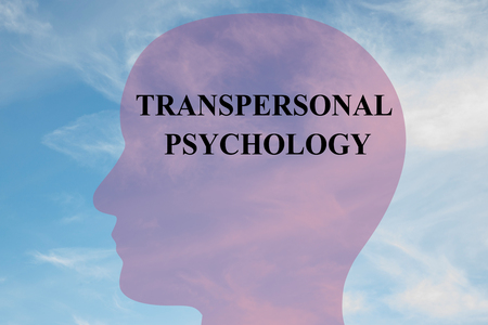 psychoanalysis: Render illustration of TRANSPERSONAL PSYCHOLOGY script on head silhouette, with cloudy sky as a background. Human mental concept.