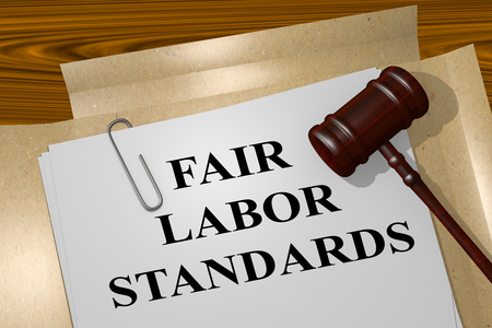 labor policy: 3D illustration of FAIR LABOR STANDARDS title on Legal Documents. Legal concept. Stock Photo