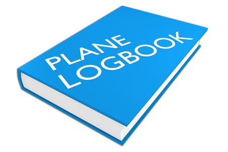 3D illustration of PLANE LOGBOOK script on a book, isolated on white. Aviation concept.