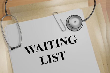 queuing: 3D illustration of WAITING LIST title on medical documents. Medical concept. Stock Photo