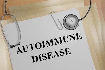 autoimmune: 3D illustration of AUTOIMMUNE DISEASE title on medical documents. Medical concept.