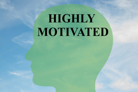 motivated: Render illustration of HIGHLY MOTIVATED script on head silhouette, with cloudy sky as a background. Human personality concept. Stock Photo