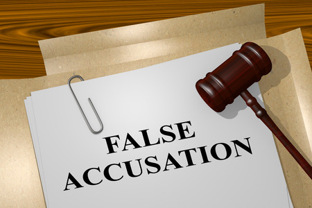 bogus: 3D illustration of FALSE ACCUSATION title on Legal Documents. Legal concept.