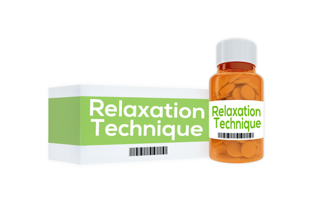 coping: 3D illustration of Relaxation Technique title on pill bottle, isolated on white. Human condition concept.