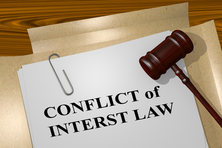 lobbying: 3D illustration of CONFLICT of INTERST LAW title on Legal Documents. Legal concept.