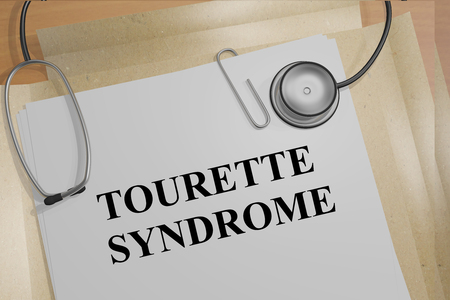 traumatic: 3D illustration of TOURETTE SYNDROME title on medical documents. Medical concept.