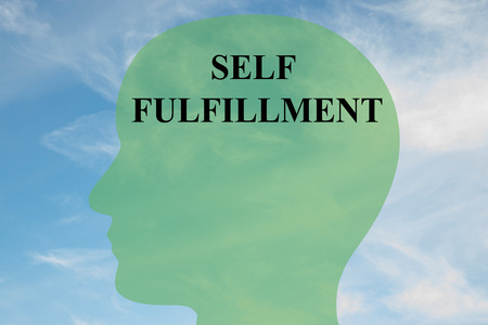 fulfillment: Render illustration of SELF FULFILLMENT script on head silhouette, with cloudy sky as a background. Human personality concept.