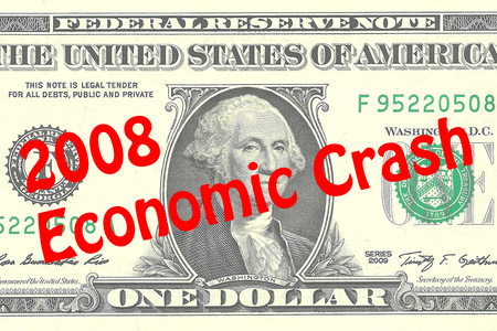 one dollar bill: Render illustration of 2008 Economic Crash title on One Dollar bill as a background. Business concept
