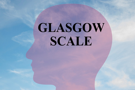 Render illustration of GLASGOW SCALE  script on head silhouette, with cloudy sky as a background. Stock Photo