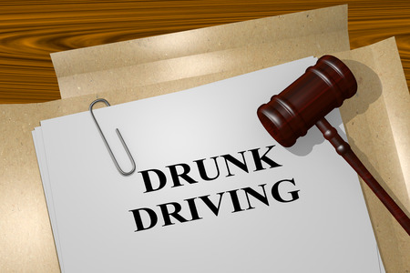traffic violation: 3D illustration of DRUNK DRIVING title on Legal Documents. Legal concept.