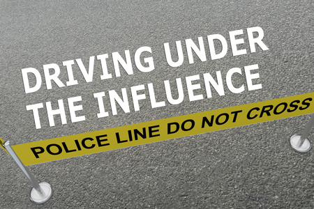 dui: Render illustration of DRIVING UNDER THE INFLUENCE title on the ground in a police arena. Police concept Stock Photo
