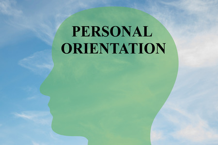 orientation: Render illustration of PERSONAL ORIENTATION script on head silhouette, with cloudy sky as a background.