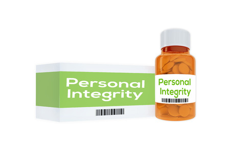 principled: 3D illustration of Personal Integrity title on pill bottle, isolated on white. Human personality concept. Stock Photo