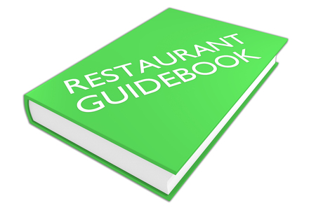guidebook: 3D illustration of RESTAURANT GUIDEBOOK script on a book, isolated on white. Tourism concept.